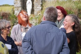 Group chatting at Ancient Connections Launch St Davids 2019